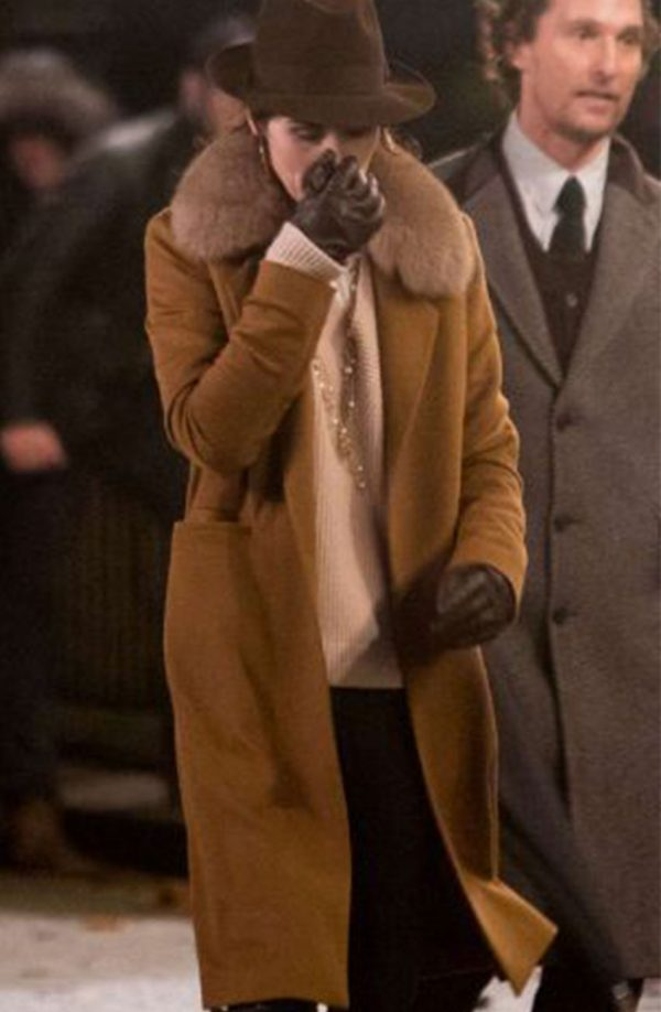 The Gentlemen Michelle Dockery Shearling Collar Brown Long Coat s