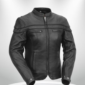 The Maiden Rockstar Women's Round Collar Motorcyle Leather Jacket