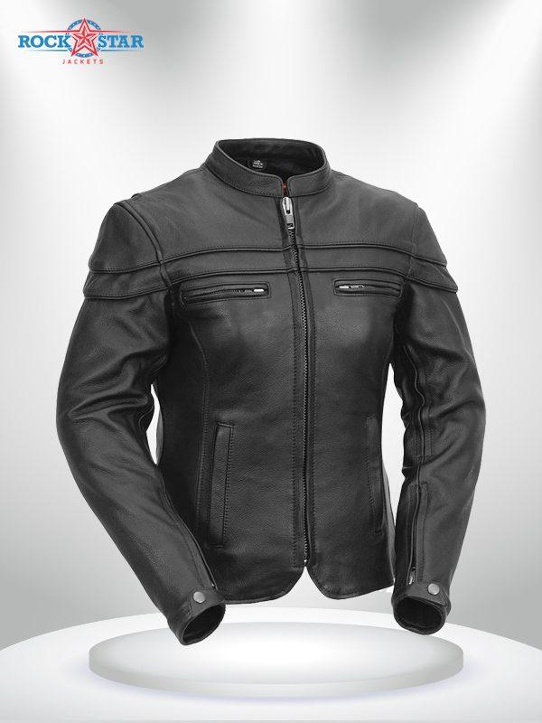The Maiden Rockstar Women's Round Collar Motorcyle Leather Jacket