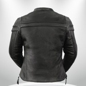 The Maiden Rockstar Women's Round Collar Motorcyle Leather Jacke back