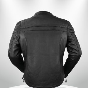 The Maverick Rockstar Black Motorcycle Leather Jacket back