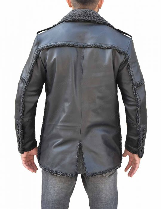 The Punisher Season 2 Billy Russo Shearling Grey Leather Coat back