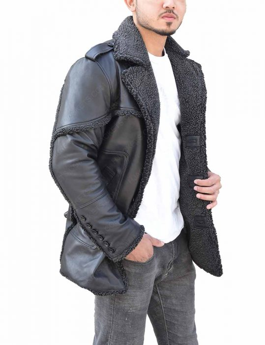 The Punisher Season 2 Billy Russo Shearling Grey Leather Coat side