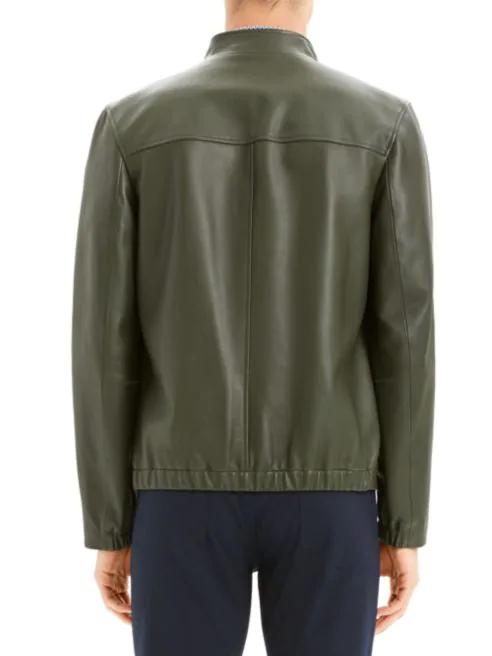 Theory Kellerherm Black Plain Leather Jacket back