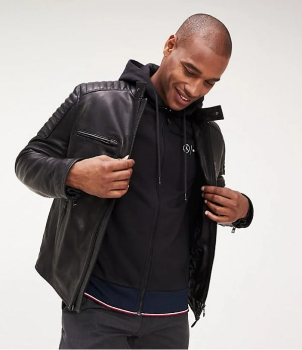 Tommy X Mercedes-Benz Black Racer Hoodie Leather Jacket