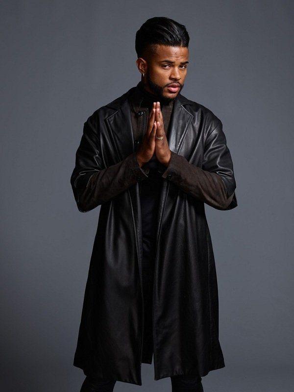 Trevor Jackson Superfly Black Leather Long Coat front