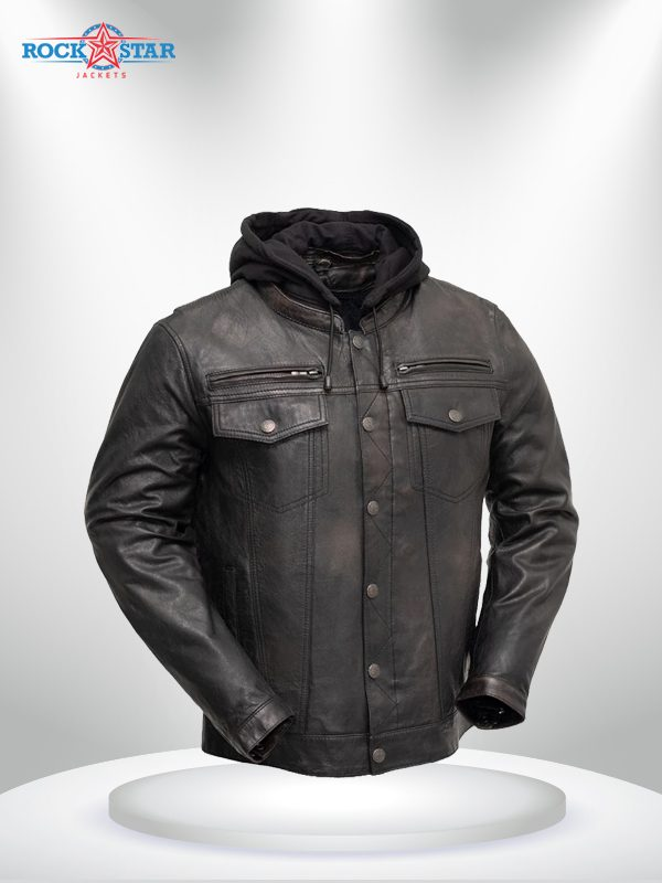 Vendetta Rockstar Men's Motorcycle Hoodie Leather Jacket