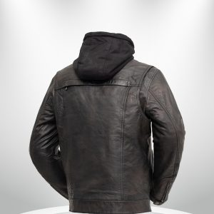 Vendetta Rockstar Men's Motorcycle Hoodie Leather Jacket back