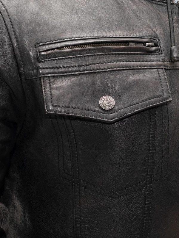 Vendetta Rockstar Men's Motorcycle Hoodie Leather Jacketj
