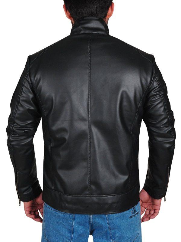 WWE Dean Ambrose Striped Design Black Leather Jacket back