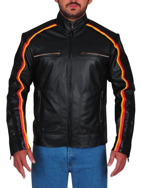 WWE Dean Ambrose Striped Design Black Leather Jacket front