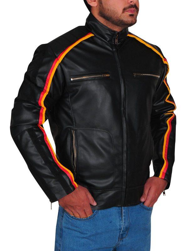WWE Dean Ambrose Striped Design Black Leather Jacket side