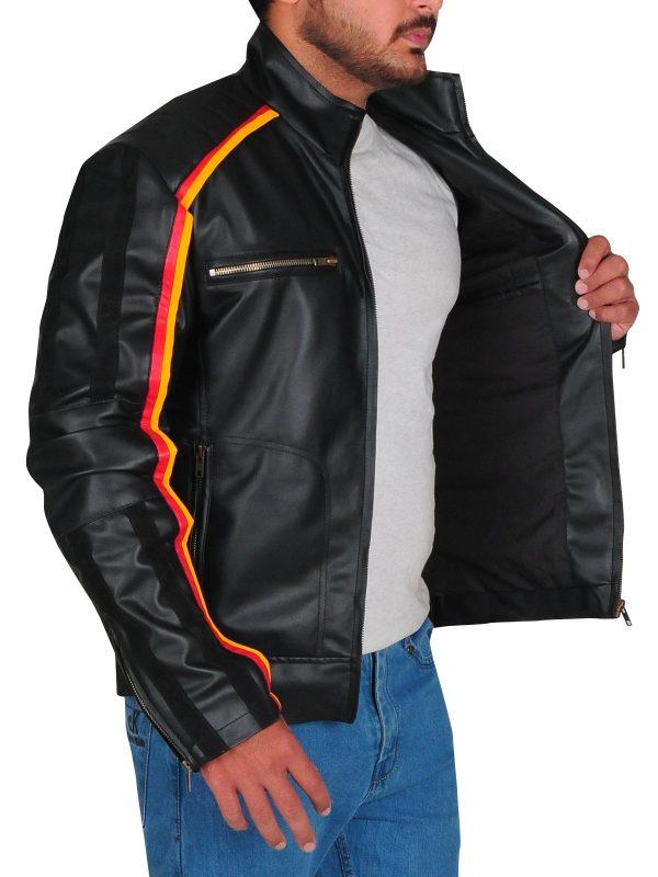 WWE Dean Ambrose Striped Design Black Leather Jacket side open