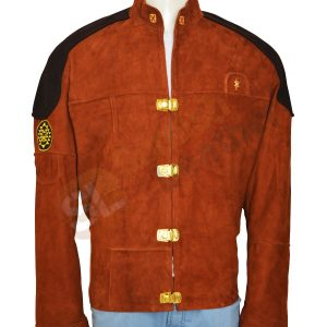 Warrior Battle Star Brown Suede Leather Jacket front
