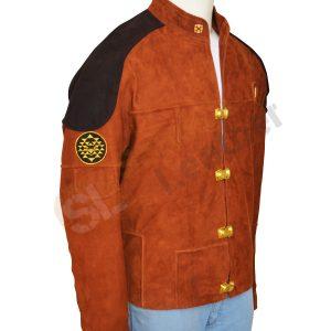 Warrior Battle Star Brown Suede Leather Jacket side