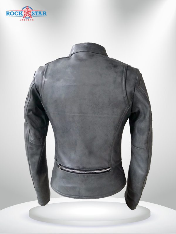 Warrior Princess Rockstar Women's Black & Grey Motorcycle Leather Jacketg