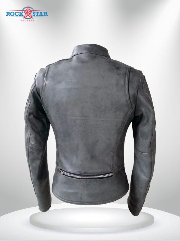 Warrior Princess Rockstar Women's Black & Grey Motorcycle Leather Jacketg