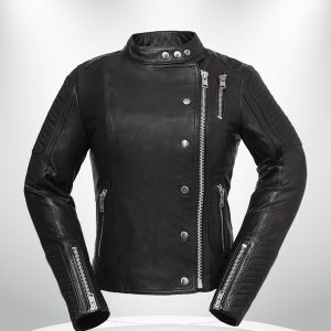 Warrior Princess Rockstar Women's Black & Grey Motorcycle Leather Jacket
