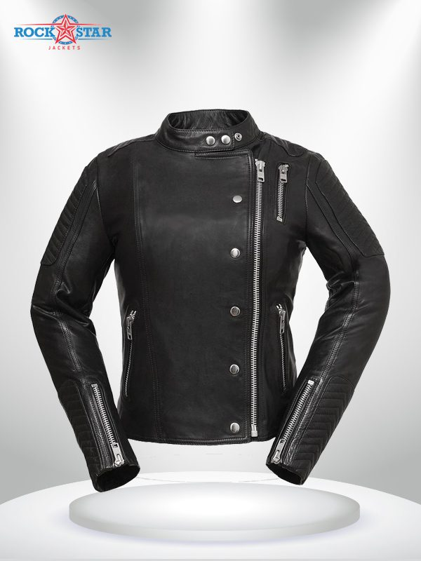 Warrior Princess Rockstar Women's Black & Grey Motorcycle Leather Jacket