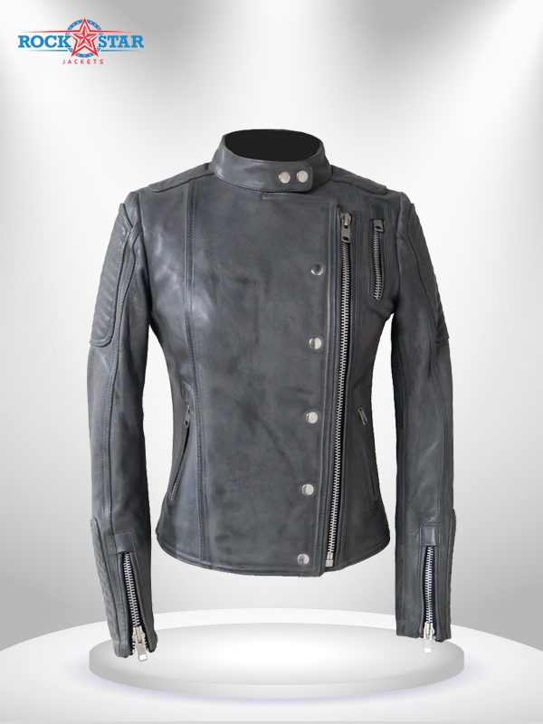 Warrior Princess Rockstar Women's Black & Grey Motorcycle Leather Jacket grey