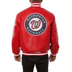 Washington Nationals Red Classic Bomber Leather Jacket back