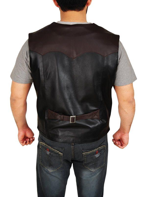 Western Cowboy Style Black & Brown Leather Vest back