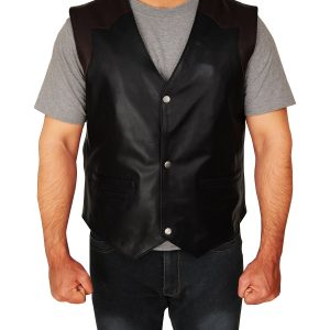 Western Cowboy Style Black & Brown Leather Vest front