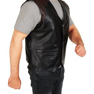 Western Cowboy Style Black & Brown Leather Vest side 1