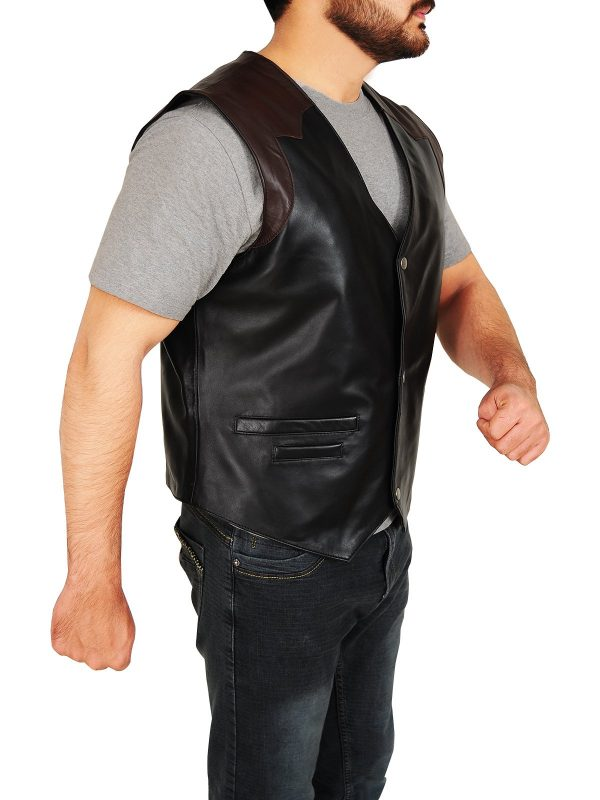 Western Cowboy Style Black & Brown Leather Vest side 1