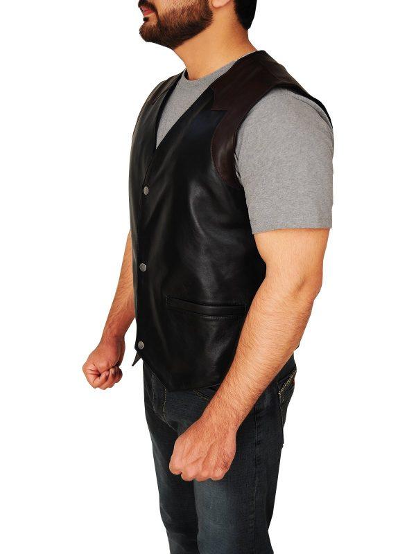 Western Cowboy Style Black & Brown Leather Vest side