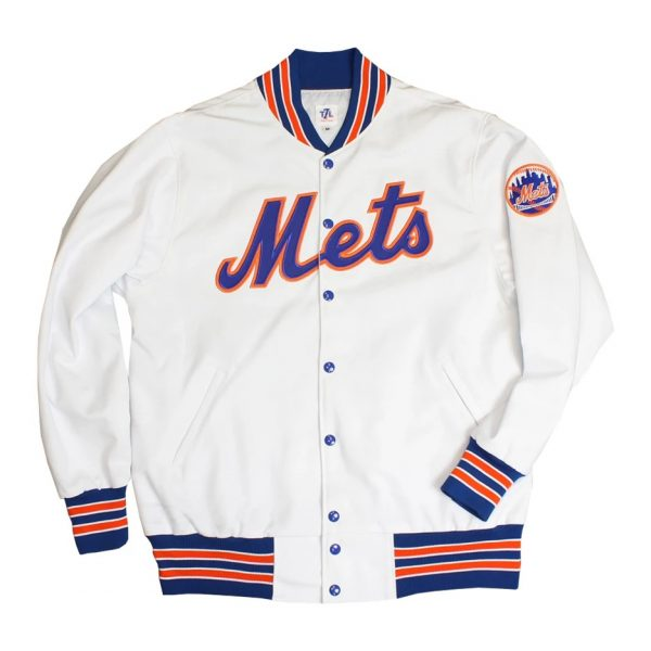 White Bomber New York Mets 'Roosevelt' Jacket front