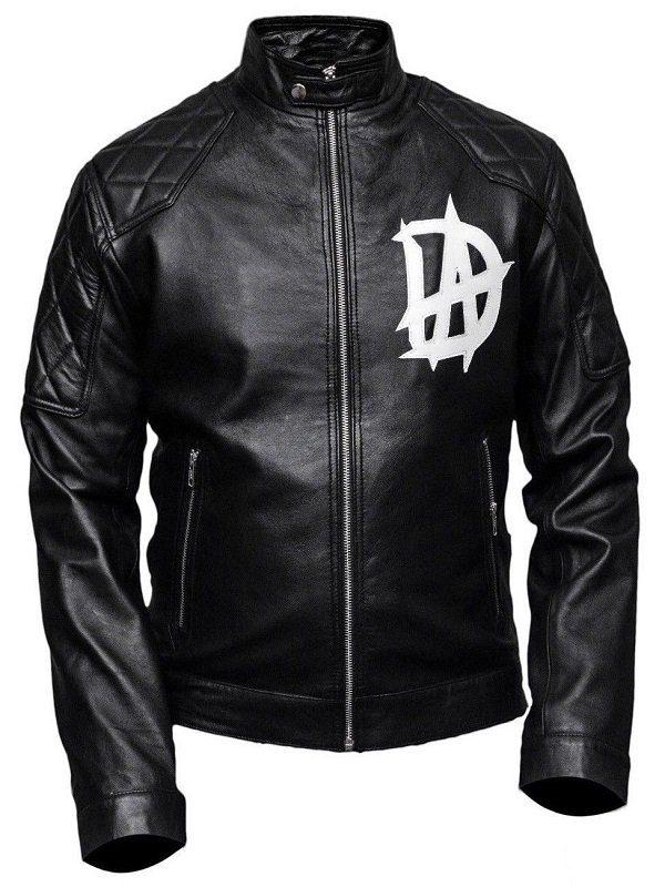 Wrestler Dean Ambrose Logo Black Leather Jacket front