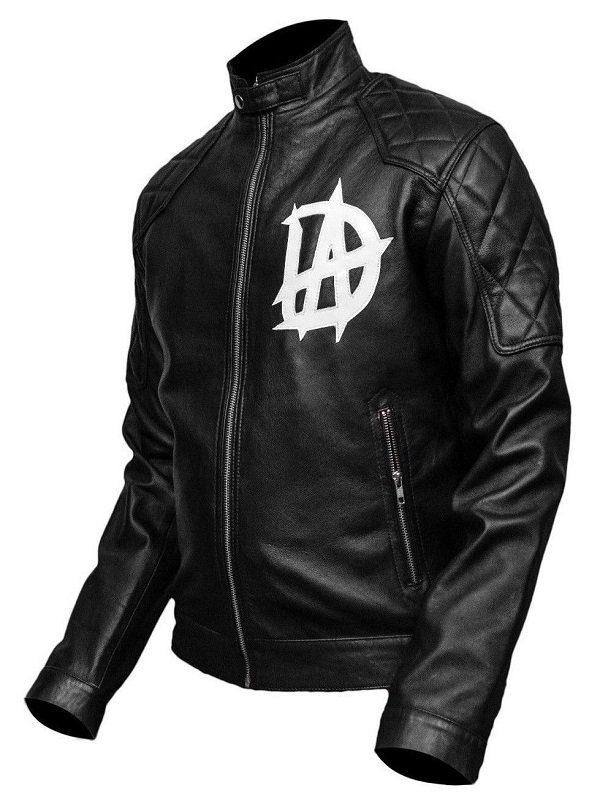 Wrestler Dean Ambrose Logo Black Leather Jacket side