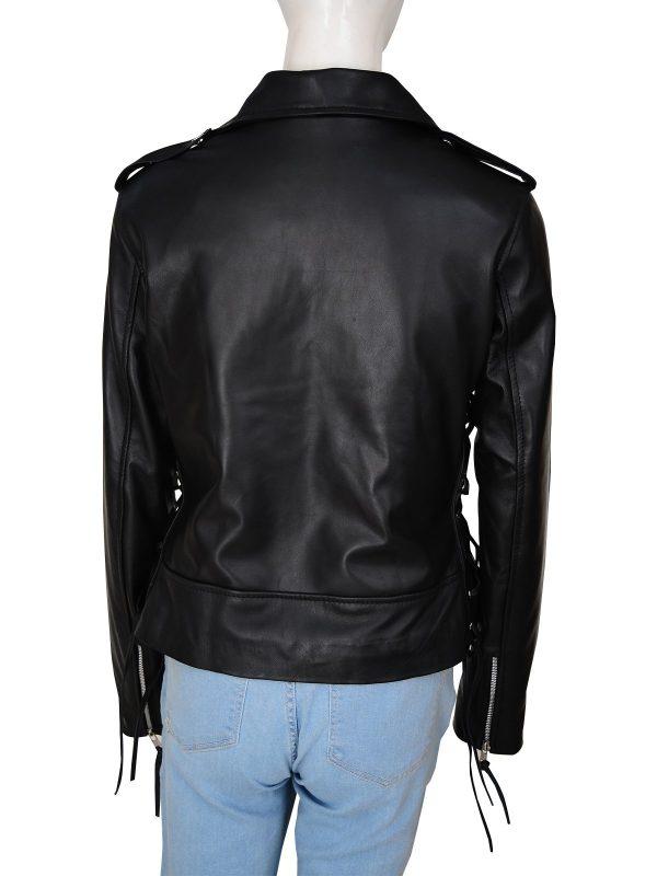Wrestler Ronda Jean Rousey Biker Leather Jacket back