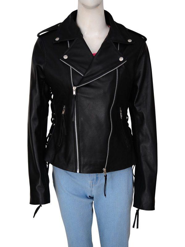 Wrestler Ronda Jean Rousey Biker Leather Jacket front