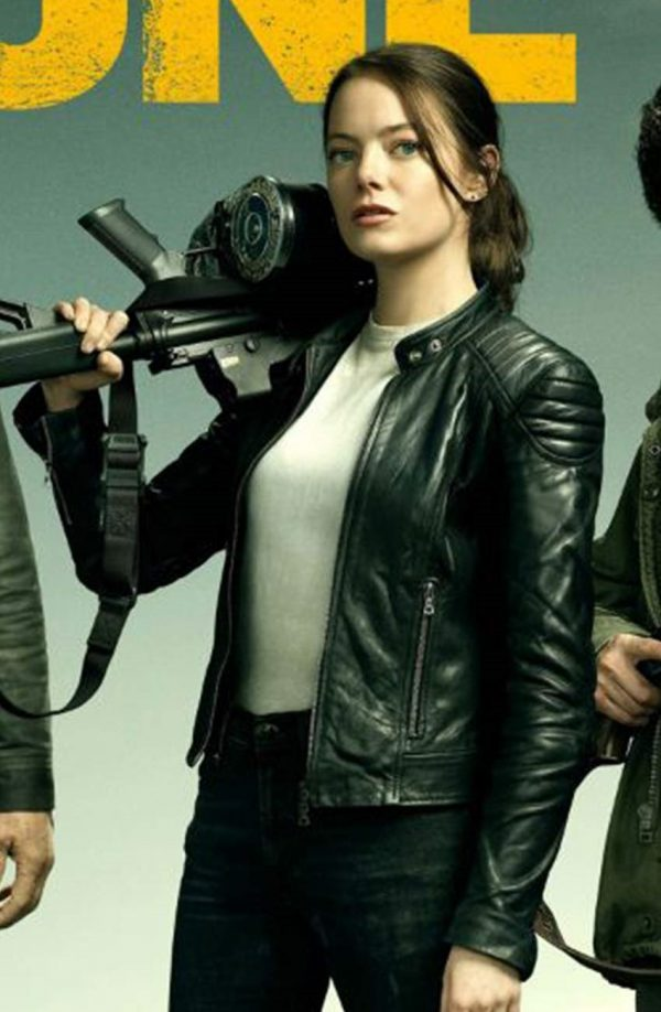 Zombieland Double Tap Emma Stone Black Leather Jacket f