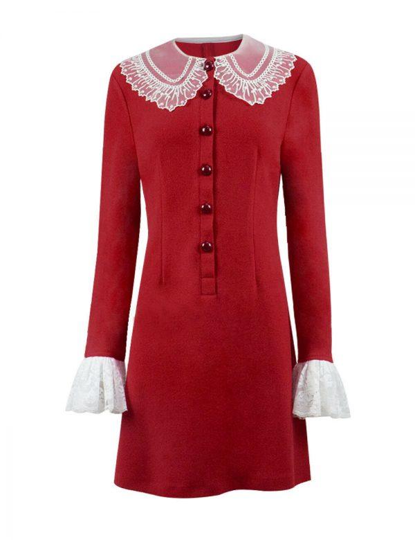 Kiernan Shipka Chilling Adventures of Sabrina Spellman Red Net Coat