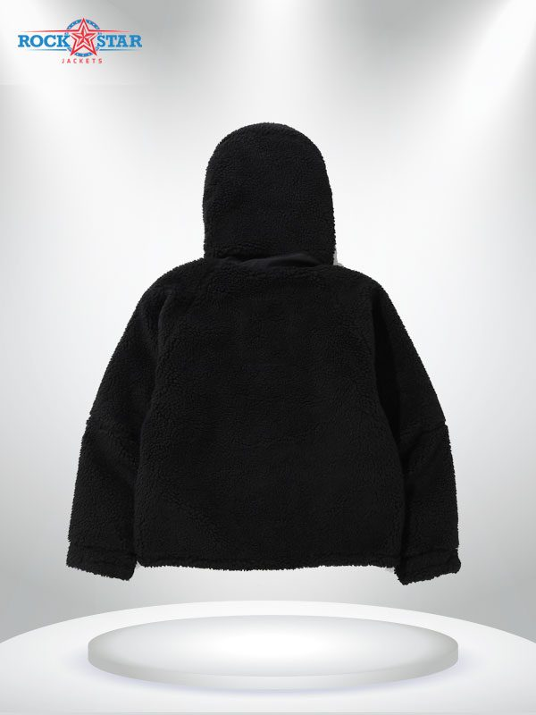 Black Boa Snowboard Shearling Fabric Jacket