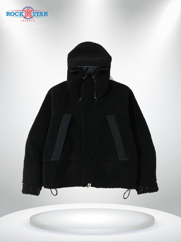 Boa Snowboard Shearling Fabric Black Jacket