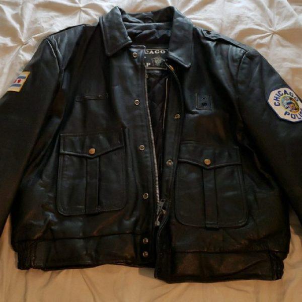 Chicago Police Black Leather Jacket