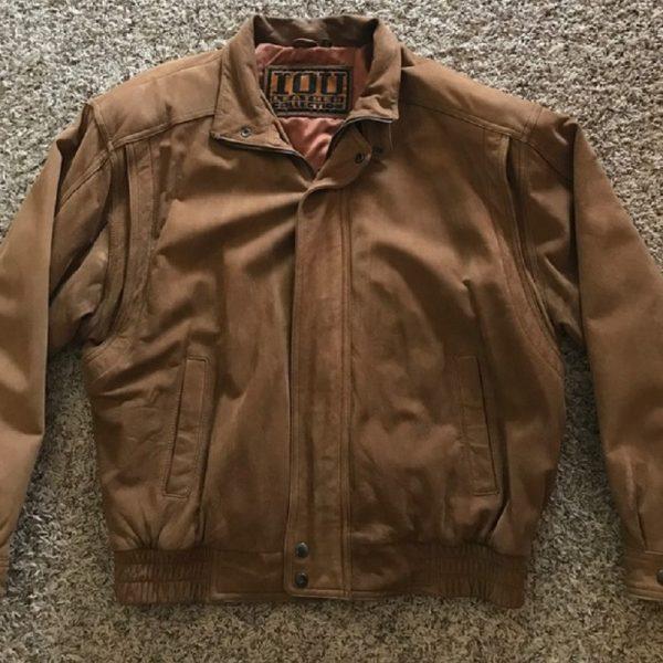 Iou Bomber Brown Leather Jacket