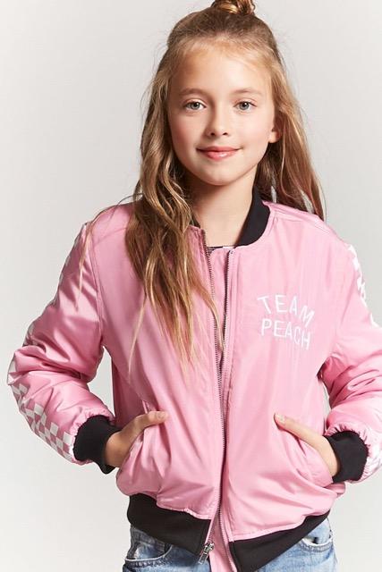 Pink Team Peach Bomber jacket