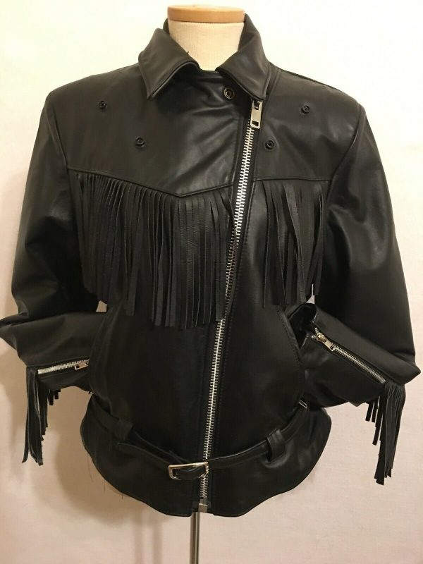 Vintage Steer Brand Black Leather Fringe Biker Western Jacket.