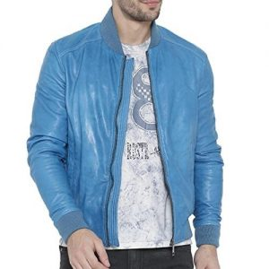 light blue bomber jacket