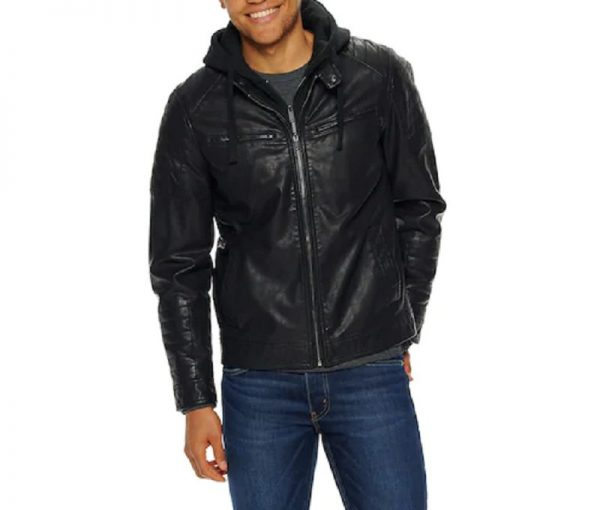 Apt. 9 Leather Moto Jacket With Removable Hood