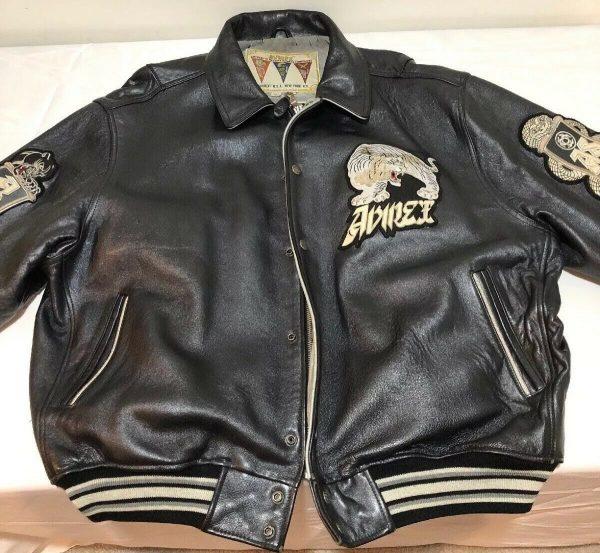 Avirex USA Vintage Varsity Speed Tigers Leather Jacket
