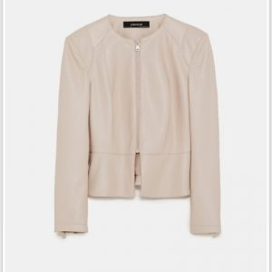 Blush Faux Leather Jacket With Shoulder Pads