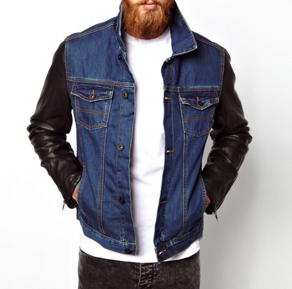 Denim Jacket With Faux Leather Sleeve