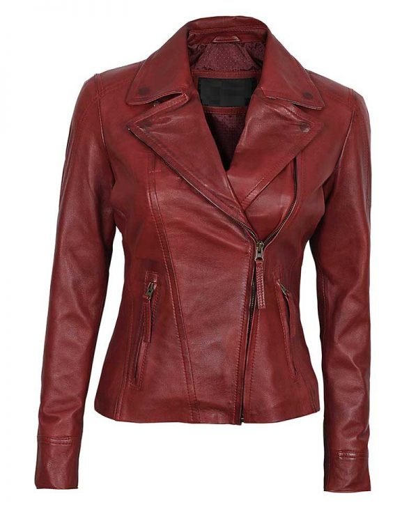 Girls Fitted Rust Leather Double Zippered Perfecto Jacket