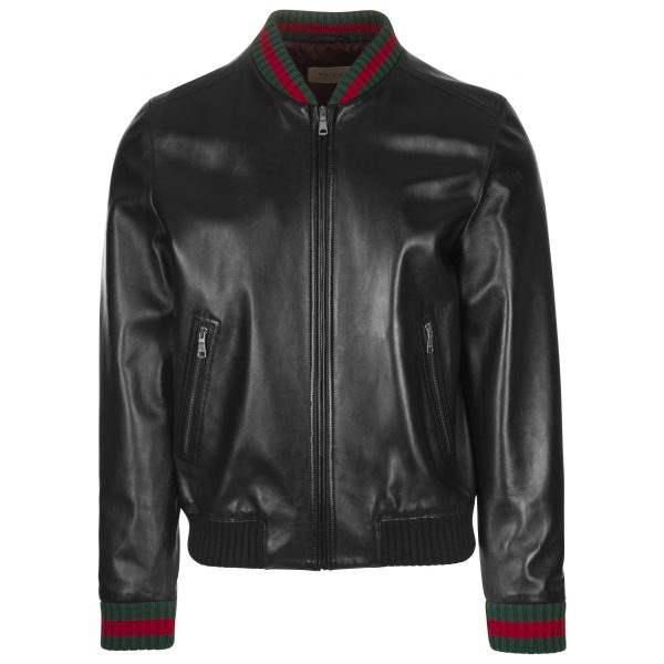 Gucci Web Black Leather Jacket
